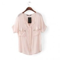 Dual Port V Neck Bat Chiffon Shirt Pink - Designer Shoes|Bqueenshoes.com