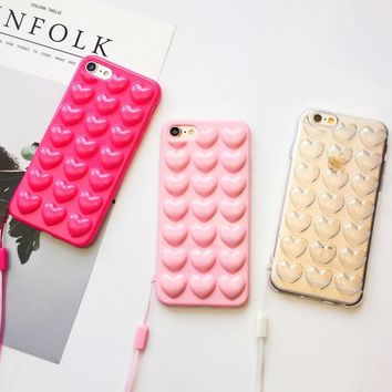 Heart Jelly Candy iPhone Case with Lanyard