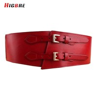 Womens Fashion Double Belt Buckle Wide Waist Genuine Leather Belt For Plus Size