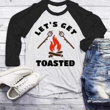 Men's Funny Bonfire T Shirt Let's Get Toasted Marshmallow Graphic Tee Camping Shirts 3/4 Sleeve Raglan