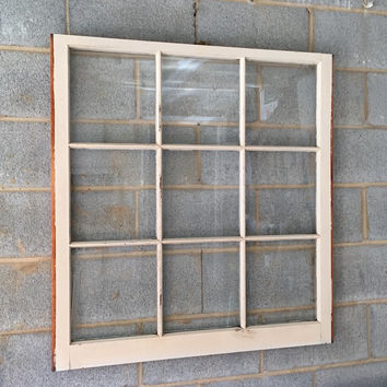 "Vintage 9 Pane Window Frame - 36W"" x 38L"", White, Rustic, Antique, Wedding, Beach Decor, Photos, Pictures, Engagement, Holiday, Business"