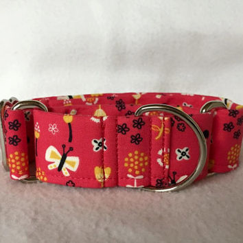"Birds of A Feather Butterflies Pink Martingale or Quick Release Collar 5/8"" Quick Release 3/4"" 1"" Martingale Collar, 1.5"" Martingale 2"""