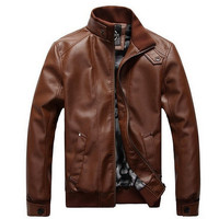 Men's Winter Warm Comfortable Soft Leather Motorcycle Jacket Brown