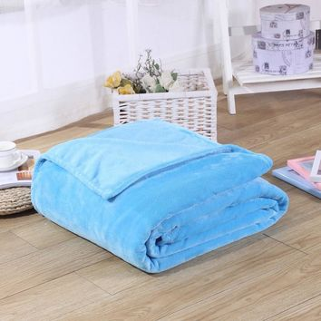 Super Soft Coral Fleece Flannel Blanket Plain Dyed Sofa Couch Chair Cover Plaid Twin Full Queen King Size Bedspread Blankets