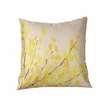 Ginkgo Leaves Linen Throw Pillow Case throw pillows cusion pillow covers geometric velvet covers