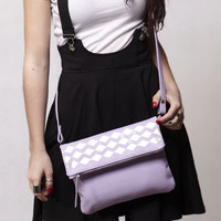 Leather crossbody bag. Lavender foldover leather purse, hand painted silver geometric decor. Purple cross body clutch.