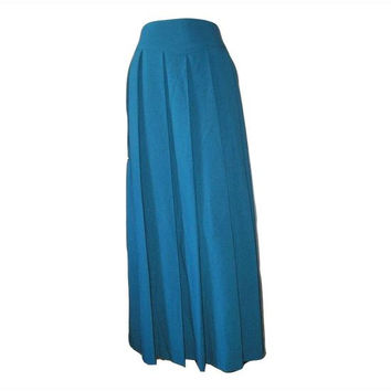 Vintage 70s Teal Blue MAXI Pleated SKIRT 8 - Vintage Fashion Show Sample