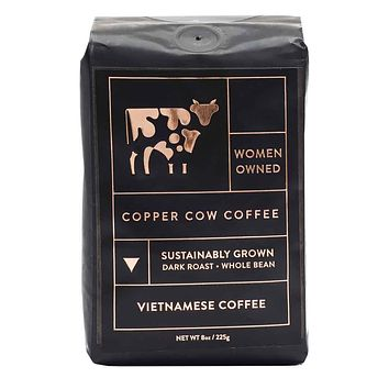 Copper Cow Coffee - Vietnamese Whole Bean Dark Roast Coffee, 8 oz.
