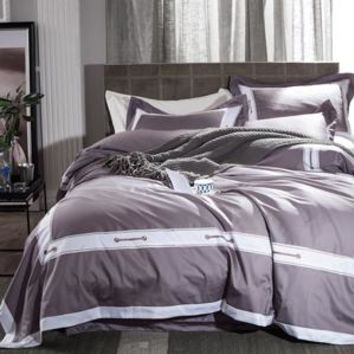 Embroidered Solid Color Bedding Set