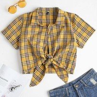 Plaid Tied Cropped Top