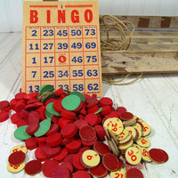 Vintage Wooden Red Bingo Chips & Retro Lotto Caller's Numbered CardBoard Chips - 212 Game Pieces for Repurposing