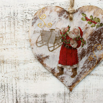 Large 6' Christmas ornament Christmas decoration rustic cottage chic shabby chic red white brown  Santa Claus
