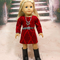 American Girl Doll Dress Red Sheath Dress Includes Belt, Bracelet, Necklace