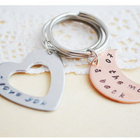 I Love You to the Moon and Back Keyrings - Mixed Metals - Hand Stamped Keychain - Moon Keychain - Heart Keychain - Custom Keychain