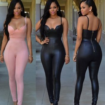 Hot black pink Pu leather straps jumpsuit