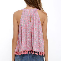 Honeymooner Coral Pink Print Crop Top