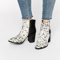 Glamorous Pony Print Leather Heeled Ankle Boots