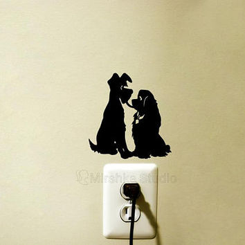 Lady and the Tramp Light Switch Fabric Decal - Dogs Laptop Sticker - Disney Wall Decor - Girl Room Wall - Nursery Wall Decor - iPad Decal