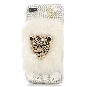 Handmade Bling Crystal Luxury Golden Leopard Head with Rabbit Fur TPU Soft Phone Case Cover for iPhone 4s 5 5s 6 6s 7 7 plus