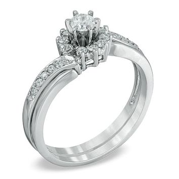 3/8 CT. T.W. Diamond Sunburst Bridal Engagement Ring Set in 14K White Gold