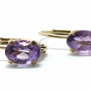 Beautiful 10KT Lever back Amethyst Earrings, lovely and delicate