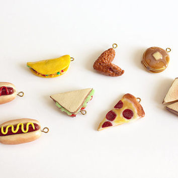 Polymer Clay Junk Food Charm Bracelet / Miniature Fake Food Charms