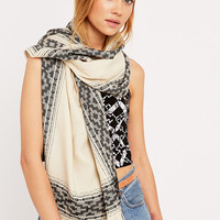 Border Print Ivory and Black Lightweight Scarf - Urban Outfitters