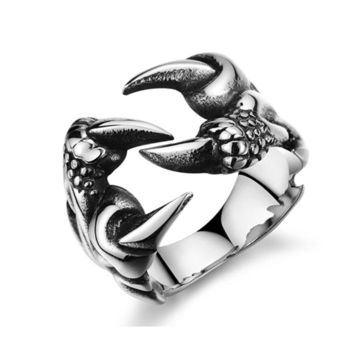 Men's Punk Ring Retro Titanium Steel Dragon Claw Ring