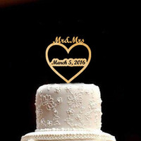 Rustic Wedding Cake Topper Wedding Cake Topper Wood Wedding Cake Topper Personalized Wedding Cake Topper Mr and Mrs Cake Topper