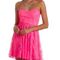 Strapless Neon Lace Skater Dress by Charlotte Russe - Knockout Pink