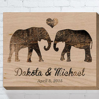 Wedding Gifts For Couple, Personalized Wedding Gift, Wedding Wood Sign, Engagement Gift, Anniversary Gift, Elephant Couple, Bridal Shower