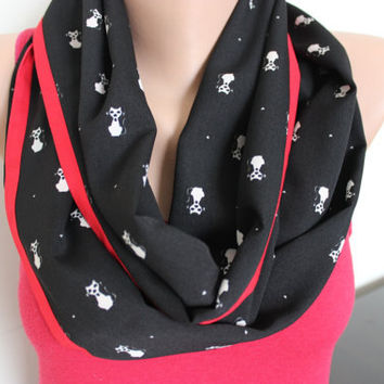 Cat Print Scarf, Black White Red Loop Scarf, Cat Print Infinity Scarf, Women's Scarves, Scarf for CAT Lovers, Kitty Pattern Scarf, Cats, Cat