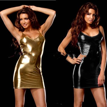 Faux Leather Night Club Dress