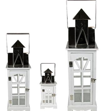 """Set of 3 Elegant Serenity Tall White and Silver Glass Candle Lanterns 37"""""""