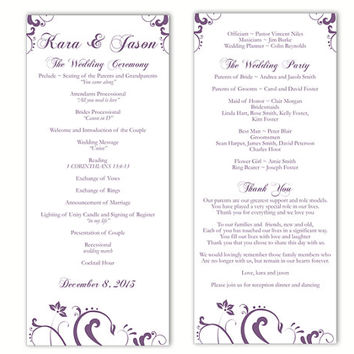 Wedding Program Template DIY Editable Word File Instant Download Program Eggplant Program Purple Floral Program Printable Program 4x9.25