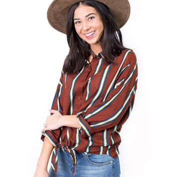 Darcy Stripe Knotted Blouse
