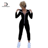 Casual Women One Piece Jumpsuit Long Sleeve Bodycon Front Zipper Hooded Long Pants Sexy One Piece Outfits Black/Red Rompers