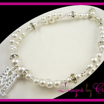 Flower Girl  Bracelet, Pearl  Initial Rhinestone Crystal Swarovski pearl, sterling silver baby, toddler, white, pink, great shower gift