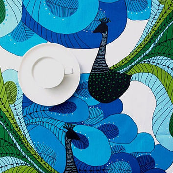 Tablecloth white bright blue green black peacocks , table runner , napkins , curtains , pillows available, great GIFT