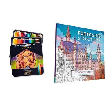 Fantastic Structures: A Coloring Book of Amazing Buildings Real and Imagined and Prismacolor Premier Soft Core Colored Pencil, Set of 48 Assorted Colors