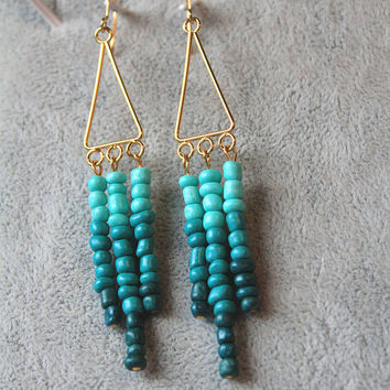 Extra Long Earrings, Beaded Tassel Earrings, fringe earrings, teal earrings, ombre earrings, Mother's Day gift, gift for her, under 20