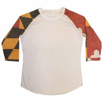 Maryland Flag Sleeves / Ladies Burnout Baseball Tee