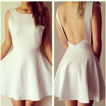 White Square Neck Sleeveless Backless Skater Dress
