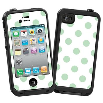 Spring Green Polka Dot on White Skin for the iPhone 4/4S Lifeproof Case by skinzy.com