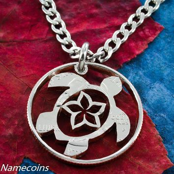 Sea Turtle and Flower Necklace, Hand Cut Quarter