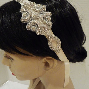 Bridal Rhinestone Headpiece KAMI Vintage by BellaCescaBoutique