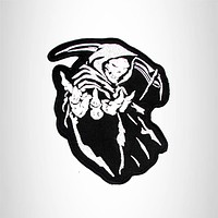 Reaper White on Black Iron on Small Patch for Motorcycle Biker Vest SB1020