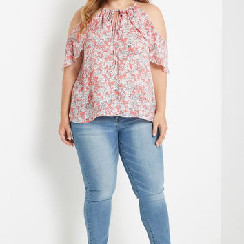 Coral Cold Shoulder Top Plus Size