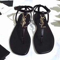 YSL Classic Popular Women Casual Ankle Strap Sandals Flats Shoes Black I/A