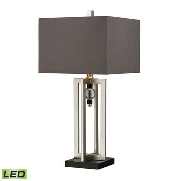 D228-LED Silver Leaf LED Table Lamp With Crystal Accents And Grey Shade - Free Shipping!